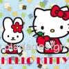 กระดาษสาพิมพ์ลาย สำหรับทำงาน เดคูพาจ Decoupage แนวภาำพ hello kitty นั่งกินแอ๊ปเปิ้ลแดง มีน้องกระต่ายนั่งอยู่เป็นเพื่อน มีพื้นหลังเป็นสีฟ้าลาย (ปลาดาวดีไซน์)