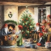 แนวภาพลายเทศกาล คืนคริสมาสต์ในบ้านที่อบอุ่น เป็นภาพ 4 บล๊อค กระดาษแนพกิ้นสำหรับทำงาน เดคูพาจ Decoupage Paper Napkins ขนาด 33X33cm