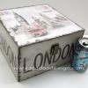 กล่องเก็บของทรงจตุรัส ขนาดกลาง ภาพวินเทจ London กับหอนาฬิกา