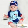 ชุดว่ายน้ำเด็กทารกความสูง 70-140ซม. ลายปลาปักเป้าแขนยาวพร้อมหมวกค่ะ