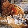 กระดาษสาพิมพ์ลาย สำหรับทำงาน เดคูพาจ Decoupage แนวภาพ แม่ไก่ออกลูกเป็นแมว 5 ตัว กำลังกกกล่อมกันอยู่