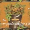 กระดาษสาพิมพ์ลาย สำหรับทำงาน เดคูพาจ Decoupage แนวภาำพ ภาพวาด เก็บผลของต้นสนมาเต็มถังไม้มีหู มีเจ้านกน้อยป้วนเปี้ยนอยู่ใกล้ๆ (ปลาดาวดีไซน)