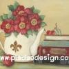 กระดาษสาพิมพ์ลาย สำหรับทำงาน เดคูพาจ Decoupage แนวภาำพ ภาพวาด ดอกไม้สีแดงดอกใหญ่หลายดอกปักอยู่ในกาน้ำกระเบื้องสีขาวใบใหญ่ื วางประดับบ้านอยู่บนตู้ (ปลาดาวดีไซน์)