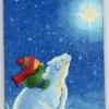 แนวภาพสัตว์ เด็กน้อยขี่หมีขาวมองดูพระจันทร์ ภาพโทนสีน้ำเงิน เป้นภาพ 4 บล๊อค กระดาษแนพคินสำหรับทำงาน เดคูพาจ Decoupage Paper Napkins ขนาด 21X22cm