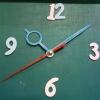 ชุดตัวเครื่องนาฬิกาญื่ปุนเดินเรียบ เข็มลายโมเดิน ขนาดกลาง เข็มสั้น-เข็มยาวสีฟ้า เข็มวินาทีสีแดง อุปกรณ์ DIY
