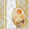 แนวภาพกามเทพ ในกรอบพร้อมลายแต่ง ภาพโทนสีครีมทอง เป็นภาพ 2 บล๊อค กระดาษแนพกิ้นสำหรับทำงาน เดคูพาจ Decoupage Paper Napkins ขนาด 33X33cm