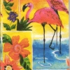 แนวภาพสัตว์ นก คู่นกฟลามิงโก บนพื้นสีชมพูหวานสดใส กระดาษแนพคินสำหรับทำงาน เดคูพาจ Decoupage Paper Napkins 8 ภาพในแผ่น ขนาด 21X22cm