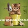 กระดาษสาพิมพ์ลาย สำหรับทำงาน เดคูพาจ Decoupage แนวภาำพ ภาพวาด ลูกแมวตัวน้อยอยู่ในกระถางสีเขียวมีส้อมพรวนดิน มีคำคมวลีเด็ด (ปลาดาวดีไซน์)