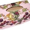 กล่องทิชชูใบลานแบบกล่อง ลายเถาเบอร์รี่บนพื้นม่วง