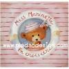 กระดาษสาพิมพ์ลาย rice paper เป็น กระดาษสา สำหรับทำงาน เดคูพาจ Decoupage แนวภาพ น้องหมีน้อย เท็ดดี้ แบร์ teddy bear Miss Marinette มาในชุดสีชมพูอ่อนหวานอยู่ในห่วงยาง (pladao design)