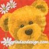 กระดาษสาพิมพ์ลาย สำหรับทำงาน เดคูพาจ Decoupage Paper Rice แนวภาพ หมี เท็ดดี้ Teddy bear กับดอกไม้สีขาว บนพื้นสีแดง Pladao design