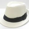 ชิ้นงานดิบ เส้นใยธรรมชาติ ทำ Decoupage งานเพนท์ หมวกผ้าทอปีกสั้น สีขาวคาดดำ