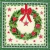 แนวภาพลายเทศกาล ช่อดอกไม้คริสมาสต์ สีขาวบนพื้นกรอบเขียว เป็นภาพ 4 บล๊อค กระดาษแนพกิ้นสำหรับทำงาน เดคูพาจ Decoupage Paper Napkins ขนาด 33X33cm