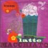 แนวภาพอาหาร แก้ว Latte Macchiato บนพื้นสีชมพูเข้ม เป็นกระดาษ 4 บล๊อค กระดาษแนพคินสำหรับทำงาน เดคูพาจ Decoupage Paper Napkins เป็นภาพ 4 บล๊อค ขนาด 25X25 ซม