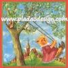 กระดาษสาพิมพ์ลาย สำหรับทำงาน เดคูพาจ Decoupage แนวภาพ หมี Teddy หมีสาว กระโปรงชมพู นั่งชิงช้าใต้ต้นไม้ ทุ่งหญ้าเขียว