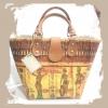 กระเป๋าถือพลาสติคหูหนัง ลายหญิงแอฟริกันแบกไห