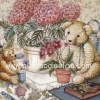กระดาษสาพิมพ์ลาย สำหรับทำงาน เดคูพาจ Rice Paper Decoupage แนวภาพ หมี เท็ดดี้ แบร์ Teddy Bear นั่งข้างกระถางดอกไฮเดนเยีย (Pladao design)