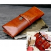 GB285 กระเป๋าหนังใส่ ของใช้จุกจิก เช่น ปากกา อุปกรณ์ช่าง อุปกรณ์เครื่องสำอางค์ ขนาดกระทัดรัด พกพาสะดวก เมื่อกางออก ขนาด 19 * 21 ซม.