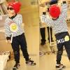 """ชุดแฟชั่นเด็กมาใหม่ ลายทางสีน้ำเงิน-ขาว"""" smile """"กางเกงสีน้ำเงิน ผ้าcotton เนื้อนุ่ม ใส่สบาย สไตล์เกาหลี (ขนาด100,110)"""