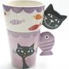 แก้วเซรามิคลายแมวกับปลา 2 ใบ ชุด เก็บซ้อนเป็น 2 ชั้นได้