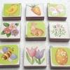 จิ๊กซอแมกเนต 9 ชิ้น ลายกระต่าย แครอท ผึ้ง ดอกไม้ ขอบสีม่วง