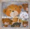 กระดาษสาพิมพ์ลาย rice paper เป็น กระดาษสา สำหรับทำงาน เดคูพาจ Decoupage แนวภาพ พี่หมี เท็ดดี้ แบร์ Teddy Bear สีน้ำตาลขนฟูหัวกลมจูงมือมากะน้องๆหลายสี (pladao design)