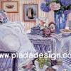 กระดาษสาพิมพ์ลาย สำหรับทำงาน เดคูพาจ Decoupage แนวภาำพ บ้านและสวน โต๊ะดื่มน้ำชาแสนอบอุ่น สวยหวาน โทนสีฟ้า ผู้ดีอังกฤษ (ปลาดาวดีไซน์)