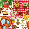 แนวภาพอาหาร บ้านนก ขนมปัง ภาพโทนสีชมพู เป็นภาพ 4 บล๊อค กระดาษแนพกิ้นสำหรับทำงาน เดคูพาจ Decoupage Paper Napkins ขนาด 33X33cm สำเนา