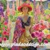 กระดาษสาพิมพ์ลาย สำหรับทำงาน เดคูพาจ Decoupage แนวภาำพ สีสันจัดจ้าน ฉูดฉาด สาวสวยในชุดลายดอกอุ้มแมว ในสวนกล้วยไม้สีแซ่บเว่อร์