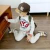 """ชุดเซ็ทเด็ก เสื้อแขนยาว + กางเกงขายาว สีเทา """" MYS skyforce"""" สไตล์เกาหลี (ผ้าสำลีขูดขน)"""