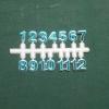 ชุดตัวเลขสำหรับประกอบนาฬิกา ตัวเลข สีฟ้าน้ำทะเล บนพื้นขาว ตัวเลขสูง 9 มม. อุปกรณ์ DIY