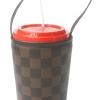 แก้วเก็บความเย็น สะดวกสบายด้วยหูหิ้ว ลาย Louis Vittion ตารางสีน้ำตาล เก็บความเย็นได้กว่า 5 ชั่วโมง