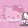 กระดาษสาพิมพ์ลาย สำหรับทำงาน เดคูพาจ Decoupage แนวภาำพ hello kitty ฉากหลังเป็นสีชมพูอ่อน มีหัวใจกระจายรอบๆ และมีหน้า hello kitty ใหญ่มากอยู่ตรงกลาง (ปลาดาวดีไซน์)