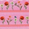 แนวภาพดอกไม้ ดอกไม้หลายชนิด บนกรอบลายเส้น ลายตาราง ภาพโทนสีชมพู เป็นภาพ 4 บล๊อค กระดาษแนพกิ้นสำหรับทำงาน เดคูพาจ Decoupage Paper Napkins ขนาด 33X33cm