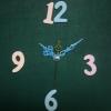 ชุดตัวเครื่องนาฬิกาญื่ปุนเดินเรียบ เข็มลายโมเดิน ขนาดกลาง เข็มสั้น-เข็มยาวสีฟ้า เข็มวินาทีสีทอง อุปกรณ์ DIY