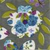 แนวภาพดอกไม้ บนพื้นเขียว กระดาษแนพคินสำหรับทำงาน เดคูพาจ Decoupage Paper Napkins เป็นภาพกระจายเต็มแผ่น ขนาด 25X25 ซม