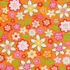 แนวภาพดอกไม้ ดอกไม้หลากสีหลายทรง บนพื้นสีส้ม เป็นกระดาษลายเต็มแผ่น กระดาษแนพคินสำหรับทำงาน เดคูพาจ Decoupage Paper Napkins เป็นภาพ 4 บล๊อค ขนาด 25X25 ซม