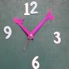 ชุดตัวเครื่องนาฬิกาญื่ปุนเดินเรียบ เข็มลายโมเดิน ขนาดกลาง เข็มสั้น-เข็มยาวสีม่วงชมพู เข็มวินาทีสีแดง อุปกรณ์ DIY
