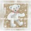 กระดาษสาพิมพ์ลาย rice paper เป็น กระดาษสา สำหรับทำงาน เดคูพาจ Decoupage แนวภาพ น้องหมี เท็ดดี้ แบร์ Teddy Bear ขนยาวสีขาว ผูกโบว์สีชมพู ยืนแอ๊คท่าให้ถ่ายรูป pladao design