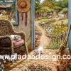 กระดาษเดคูพาจพิมพ์ลาย สำหรับทำงาน เดคูพาจ Decoupage งานฝีมือ งาน Handmade แนวภาพ บ้านและสวน แมวน้อย ในบ้านวิวสวนดอกไม้ (ปลาดาวดีไซน์)