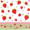แนวภาพอาหาร ผลสตอเบอร์รี่ บนพื้นขาว กับขอบลายแต่งสีรุ้ง เป็นภาพกระจายเต็มแผ่น กระดาษแนพกิ้นสำหรับทำงาน เดคูพาจ Decoupage Paper Napkins ขนาด 33X33cm