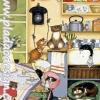 กระดาษสาพิมพ์ลาย สำหรับทำงาน เดคูพาจ Decoupage แนวภาำพ การ์ตูน แบบหมาๆ แมวๆ ทำกิจกรรมกันวุ่นวายในห้องทานข้าว