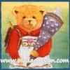 กระดาษสาพิมพ์ลาย rice paper สำหรับทำงาน Handmade เดคูพาจ Decoupage แนวภาพ หมี เท็ดดี้ แบร์ Teddy bear หมีหญิง แบกเป้ถือหมอน พื้นหลังเหลืองเขียว (ปลาดาวดีไซน์)