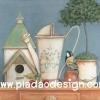 กระดาษสาพิมพ์ลาย สำหรับทำงาน เดคูพาจ Decoupage แนวภาำพ ภาพวาด สีซอฟต์ๆ มีบ้านนก บัวรดน้ำรูปทรงเก๋ไก๋ สไตล์วินเทจ vintage (ปลาดาวดีไซน์)