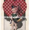 กระดาษเดคูพาจพิมพ์ลาย สำหรับทำงาน เดคูพาจ Decoupage งานฝีมือ งาน Handmade แนวภาพ vintage วินเทจ เป็นภาพวาด หนูน้อยชาวสก๊อตแลนด์เป่าปี่สก๊อต มีฉากหลังเป็นหัวใจลายสกีอต (ปลาดาวดีไซน์)