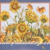 กระดาษสาพิมพ์ลาย สำหรับทำงาน เดคูพาจ Decoupage แนวภาำพ ภาพวาด ทุ่งดอกทานตะวันสีเหลือง กรอบสีน้ำเงิน สวยคลาสสิค (ปลาดาวดีไซน์)