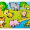 จิ๊กซอว์ไม้หมุดดึงภาพสัตว์ป่าน่ารัก
