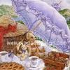 กระดาษสาพิมพ์ลาย rice paper สำหรับทำงาน เดคูพาจ handmade Decoupage แนวภาพ หมี เท็ดดี้แบร์ Teddy bear กับกระต่าย ใต้ร่มสีม่วง (ปลาดาว ดีไซน์)