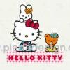 กระดาษสาพิมพ์ลาย สำหรับทำงาน เดคูพาจ Decoupage แนวภาำพ hello kitty Teddy Bear มีน้องกระต่ายนั่งอยู่บนหัว มีพื้นหลังเป็นสีขาว (ปลาดาวดีไซน์)