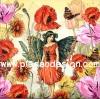 กระดาษสาพิมพ์ลาย สำหรับทำงาน เดคูพาจ Decoupage แนวภาำพ ภาพวาด Fairy Story นางฟ้าสาวน้อยในเดรสแดง มีปีกเป็นผีเสื้อ อยู่ในดงดอกไม้สีสด (ปลาดาวดีไซน์)